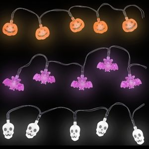 Bats Pumpkins Skulls Halloween String Lights White